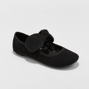 Girls' Black Faux Suede Jaya Mary Jane Ballet Flat